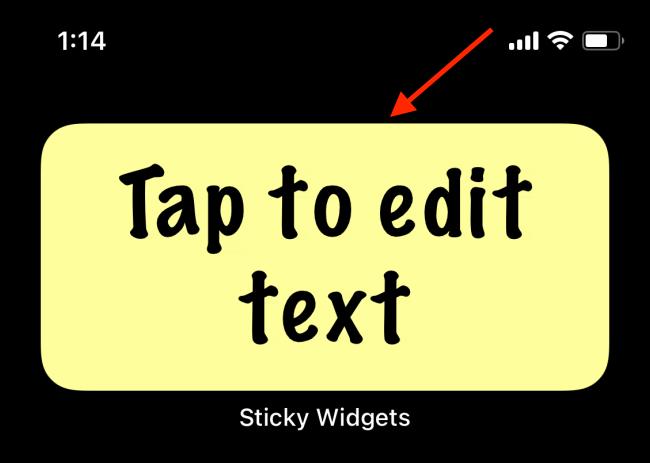 Appuyez sur le widget Sticky