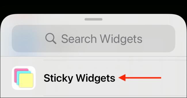 Appuyez sur Sticky Widgets dans la liste des widgets