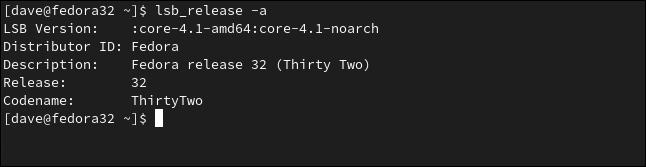 Sortie de lab_release sur Fedora dans une fenêtre de terminal.
