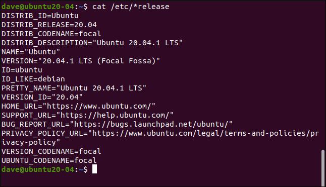 cat / etc / * release dans une fenêtre de terminal.
