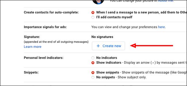 """Cliquez sur """"Créer nouveau"""" à droite de Signature"""