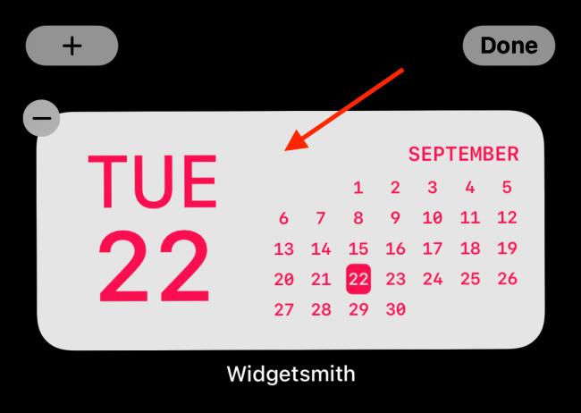 Appuyez sur le widget après l'avoir ajouté