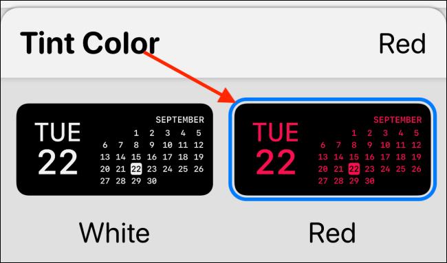 Sélectionnez la couleur de teinte dans Widgetsmith
