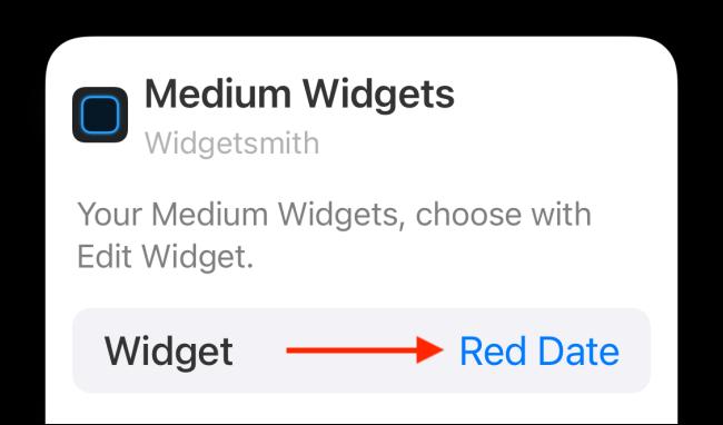 Appuyez sur Widget dans les options