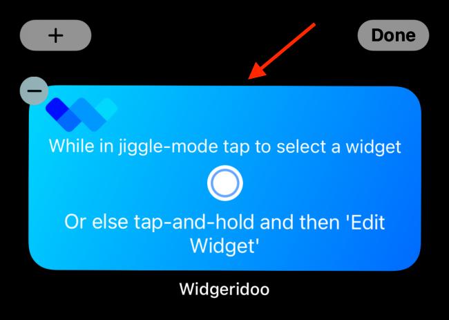 Appuyez sur le widget Widgeridoo après l'avoir ajouté