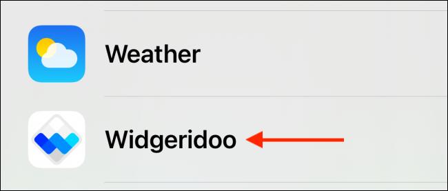 Sélectionnez Widgeridoo dans la liste