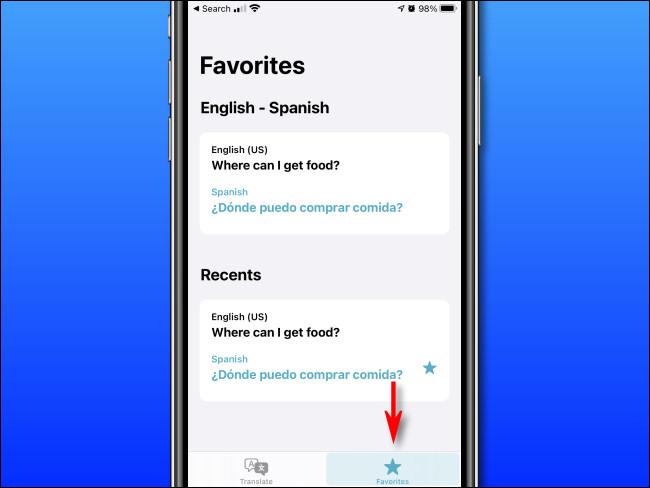 """Dans Apple Translate sur iPhone, appuyez sur le bouton """"Favoris""""."""