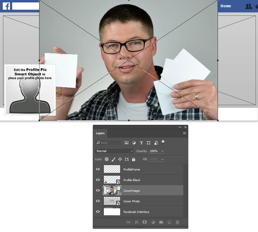 Déposez la photo de couverture dans le fichier modèle