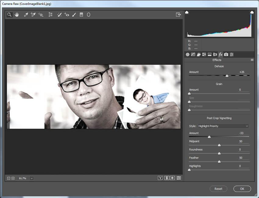Paramètres de l'onglet Effets Camera Raw