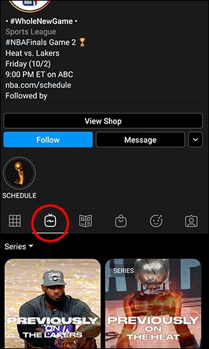 Page de compte Instagram TV
