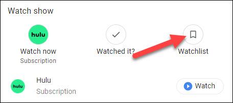 liste de surveillance google tv