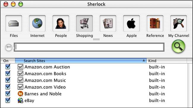Une fenêtre de recherche Sherlock sur Mac OS X Public Beta.