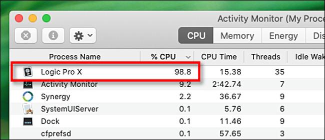 Recherchez les processus de processeur trop élevés dans Activity Monitor pour Mac.