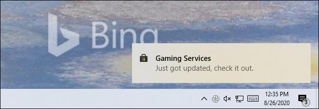 """Une notification Store sur Windows 10 indiquant une application """"Je viens d"""