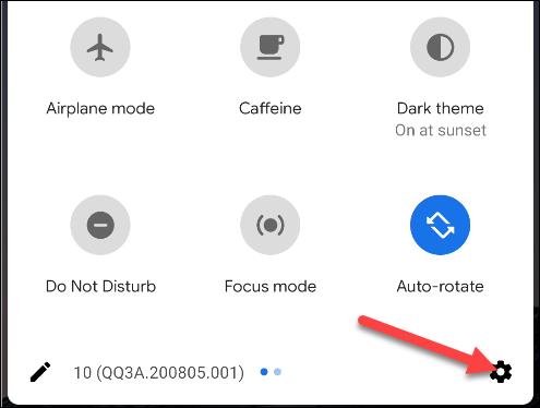 faites glisser vers le bas pour accéder au raccourci des paramètres Android