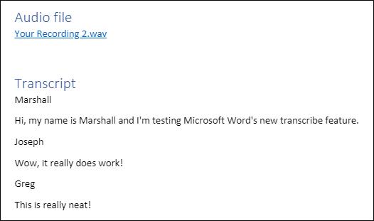 Transcription ajoutée au document Word