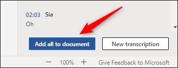 Ajouter tout le contenu de la transcription audio au document Word