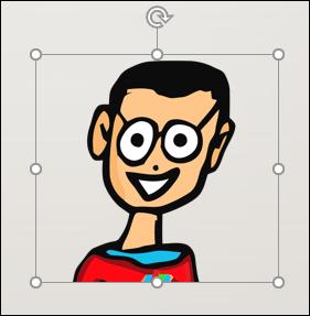 Une image sélectionnée d'un homme de bande dessinée dans PowerPoint.