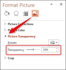 """Cliquez sur la flèche à côté de """"Transparence de l"""