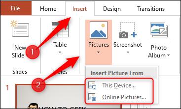 Cliquez sur «Insérer», sélectionnez «Images», puis cliquez sur «Cet appareil» ou «Images en ligne».