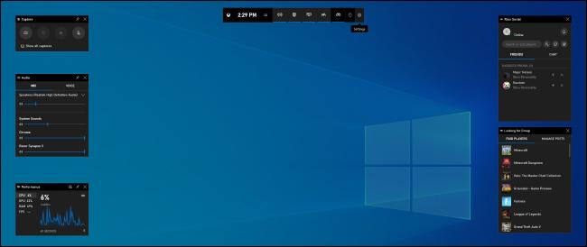 La superposition de la barre de jeu sur Windows 10.