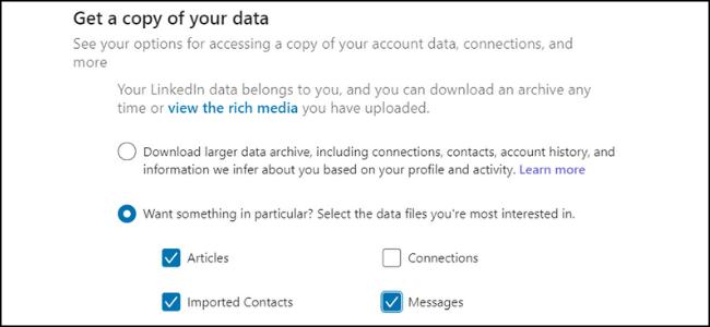 Copie de données LinkedIn