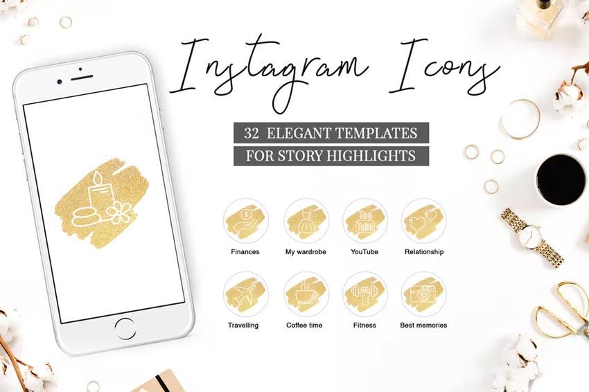 Icônes de mise en évidence de l'histoire Instagram