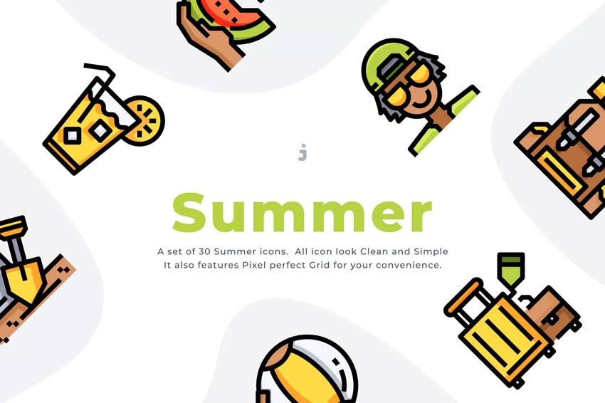 Icônes d'été pour les faits saillants d'Instagram