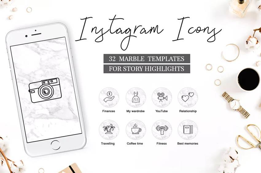 Icônes de mise en évidence Instagram marbre