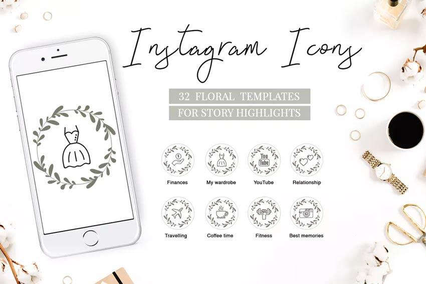 Faits saillants floraux - Icônes Instagram