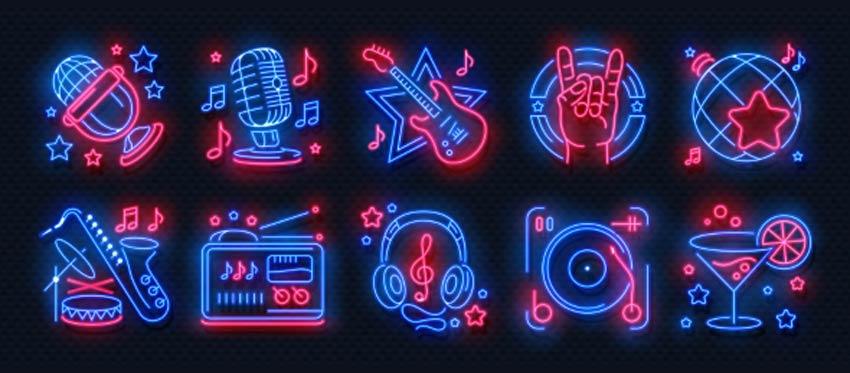Icônes de fête au néon