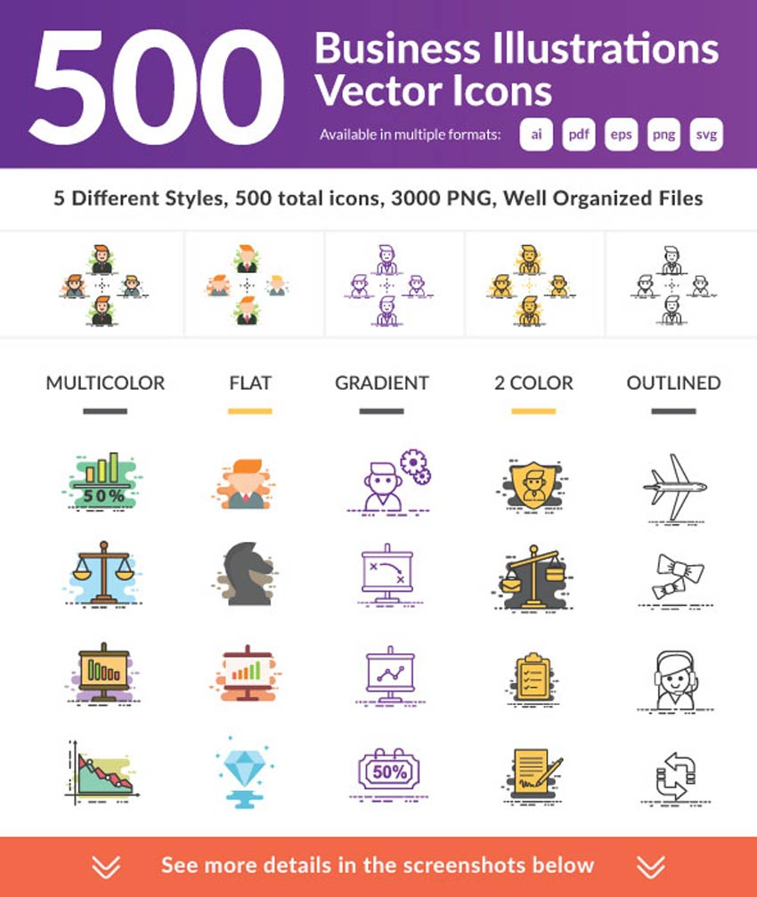 500 icônes vectorielles d'illustrations commerciales