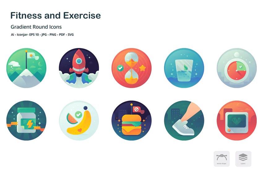 Santé et remise en forme - Icônes de mise en évidence Instagram