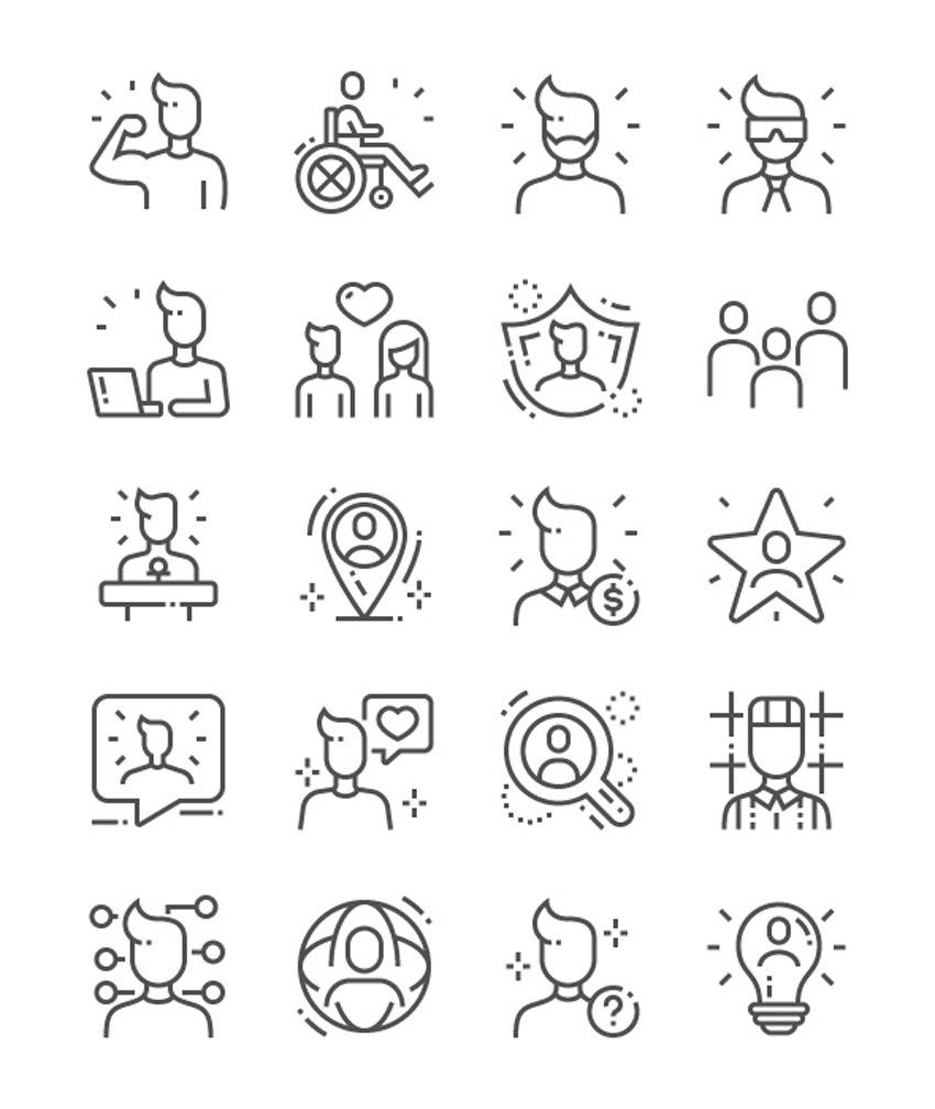 Icônes de ligne de personnes - Icônes de surbrillance Instagram