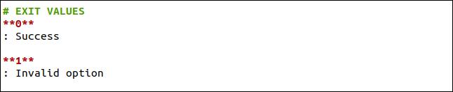 Quittez la section des valeurs d'une page de manuel dans Markdown.