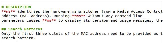 Section de description d'une page de manuel dans Markdown.