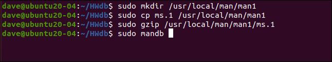 sudo mkdir / usr / local / man / man1 dans une fenêtre de terminal.