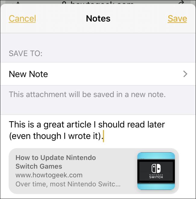 Partager un lien de Safari vers une note sur iPhone