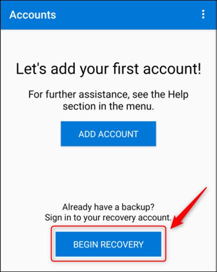 """Cliquez sur """"Commencer la récupération"""" dans Microsoft Authenticator."""