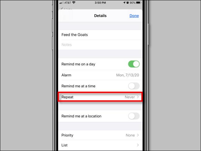 Appuyez sur Répéter dans les options de rappel dans l'application Rappels sur iPhone