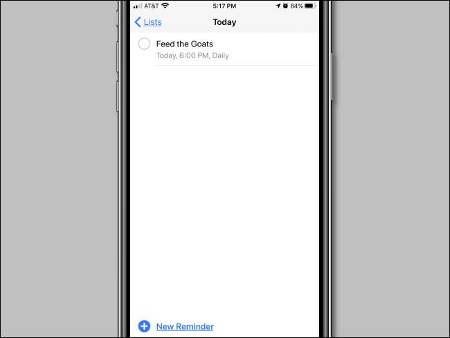 Un rappel répétitif défini dans l'application Rappels sur iPhone