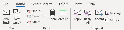 Le nouveau ruban Outlook sans l