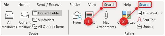 Le ruban Outlook avec deux onglets «Rechercher».