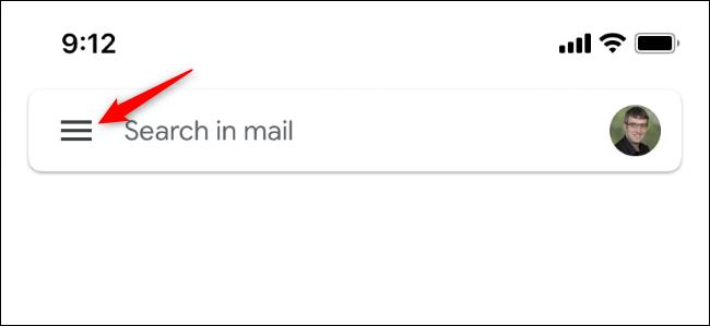 Le bouton qui ouvre le menu de Gmail sur iPhone.