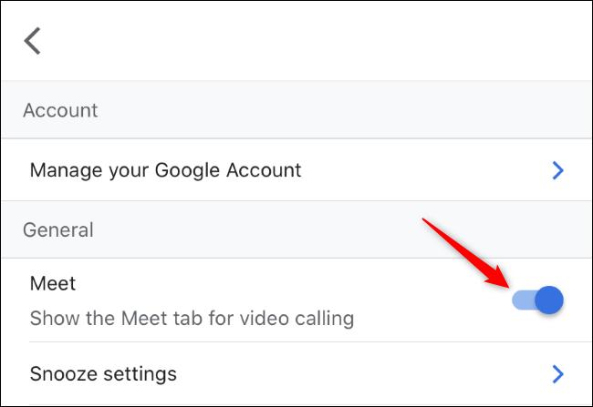 Activer l'onglet Meet pour les appels vidéo dans Gmail sur iPhone.