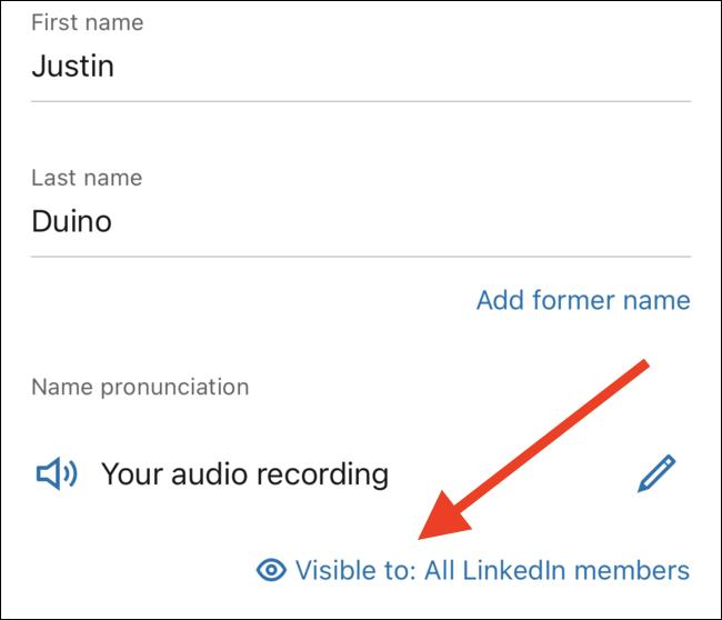 """Appuyez sur le lien """"Visible pour"""" pour modifier les personnes pouvant entendre votre enregistrement"""