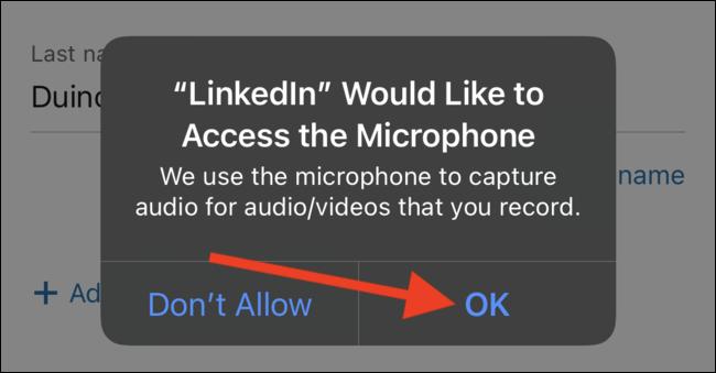 Autorisez l'application LinkedIn à accéder au microphone de votre téléphone