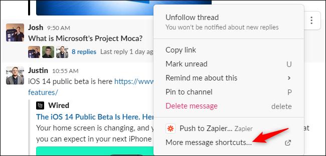 """le """"Plus de raccourcis vers les messages"""" option dans le menu contextuel des messages de Slack."""