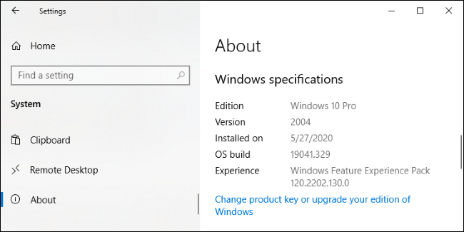 Écran Paramètres> Système> À propos de Windows 10.» width=»650″ height=»325″ onload=»pagespeed.lazyLoadImages.loadIfVisibleAndMaybeBeacon(this);» onerror=»this.onerror=null;pagespeed.lazyLoadImages.loadIfVisibleAndMaybeBeacon(this);»></p> <h2 role=