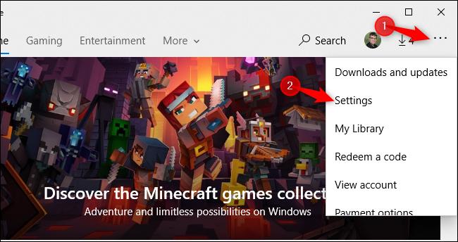 Ouverture de l'écran des paramètres du Microsoft Store sous Windows 10.